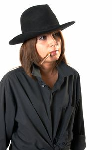 Free Girl In A Black Shirt And A Cowboy S Hat Stock Photography - 5224772
