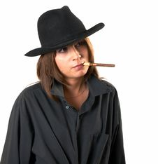 Free Girl In A Black Shirt And A Cowboy S Hat Stock Image - 5224781