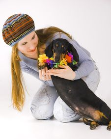 Free The Girl  And A Dog Stock Photos - 5224873