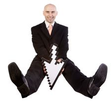 Free Businessman Seated With Arrow Royalty Free Stock Photos - 5225438