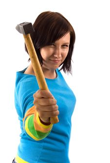 Free Woman With Hammer Stock Photography - 5225442