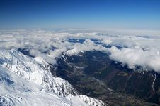 View Of Valley Chamonix From Above, The Alps Royalty Free Stock Photos