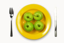 Free Apples On Yellow Plate Stock Images - 5229784