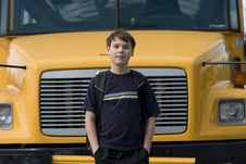Free Student Near The School Bus Royalty Free Stock Images - 5229969