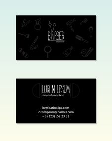 Free Barber Shop Visit Card With Line Icons. Royalty Free Stock Photography - 52202097