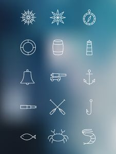 Free Set Of Marine Linear Icons On Blurred Background Royalty Free Stock Photography - 52212357