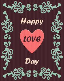 Free Happy Love Day Card With Ornament Stock Images - 52240744