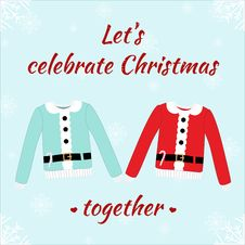 Free Christmas Romantic Card With Sweaters Stock Photos - 52243383