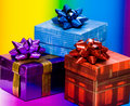 Free Blue, Red And Violet Gift Boxes Royalty Free Stock Image - 5233236