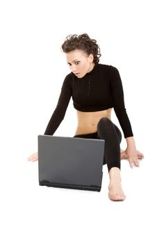 Free Lady With A Laptop Royalty Free Stock Photography - 5230547