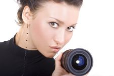 Free Lady With Lens Stock Images - 5230684