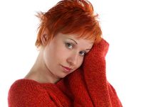Free Sad Red Haired Woman Stock Photos - 5230763