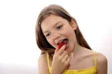 Free Young Girls Eats Strawberry Royalty Free Stock Photo - 5231145