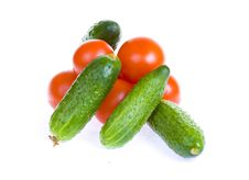 Free Tomatoes And Cucumbers Isolated On White Stock Photo - 5232780