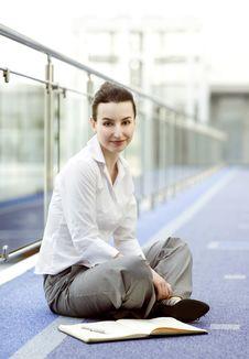 Free Businesswoman Sitting On The Floor Stock Image - 5232951