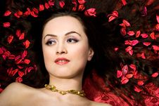 Free Beautiful Woman In Red Petals Royalty Free Stock Photos - 5233068