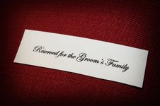 Free Reserved Sign For Groom S Family Stock Photo - 5234030