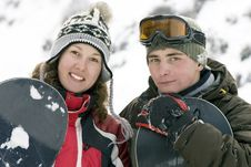 Free A Lifestyle Image Of Two Young Snowboarders Royalty Free Stock Photography - 5234337