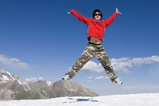 Free Teenager Jumping Over Blue Sky Stock Photography - 5234432
