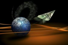 Free Planet Fying Money Royalty Free Stock Images - 5234459