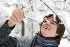 Free Boy In Scarf With Snown Branch Stock Photo - 5234500
