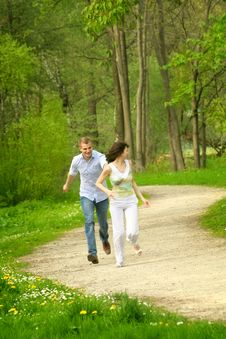 Free Beautiful Couple In A Park Stock Photo - 5236110