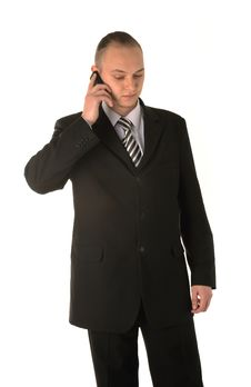 Free Businessman Calling On Phone Stock Image - 5236291