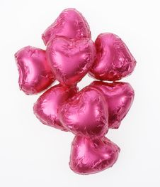 Pink Chocolate Hearts Royalty Free Stock Photography