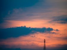 Free Antenna Tower At Sunset Stock Image - 5238061