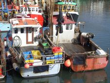 Free Trawler Fleet Berthed In Harbour Royalty Free Stock Photography - 5238077