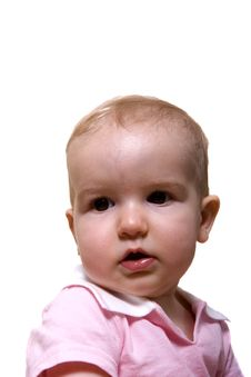 Free Baby In Pink With Dark Eyes Royalty Free Stock Image - 5238156