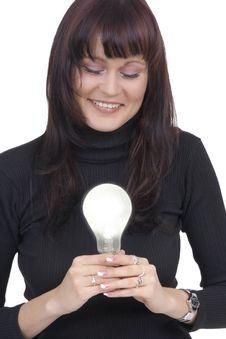 Free Woman With Lightbulb Royalty Free Stock Image - 5239516