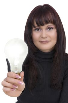 Free Woman With Lightbulb Royalty Free Stock Images - 5239529