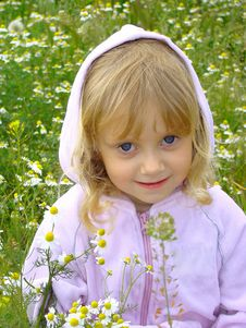 Little Girl And Flowers. Royalty Free Stock Images