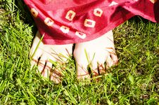 Free Barefoot Girl On Grass Royalty Free Stock Photo - 52385685