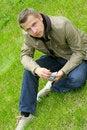 Free Man On Green Grass Stock Image - 5241051