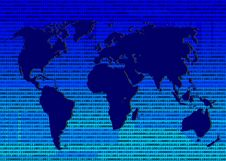 Free BlueGreen Binary World Map Royalty Free Stock Images - 5240239