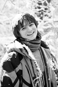 Free Boy Teens In Scarf At Winter Forest Stock Images - 5240714