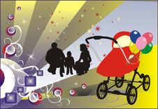 Happy Family And Baby-carriage Royalty Free Stock Image