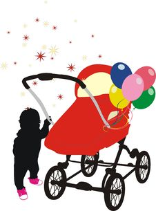Free Child And Baby-carriage. Silhouette Royalty Free Stock Image - 5241526