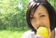 Free Young Happy Woman Eating Apple Royalty Free Stock Photo - 5241605