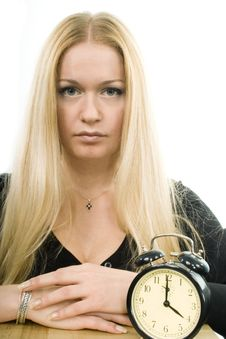 Free Blond Woman With Clock Royalty Free Stock Images - 5241619