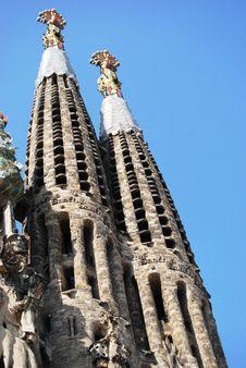 Free Sagrada Familia Facade Towers Stock Photography - 5242182