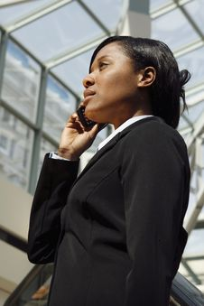 Free Atrium Businesswoman - Vertical Royalty Free Stock Photography - 5243457