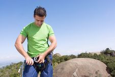 Free Attaching Rope To Climbing Harness - Horizontal Stock Photos - 5243743