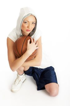 Free Female Basket Ball Player Stock Image - 5244581