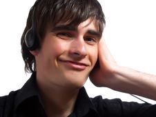 Listening To Music And Smiling Royalty Free Stock Photography