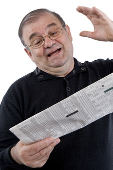 Senior Read Newspaper Stock Photos