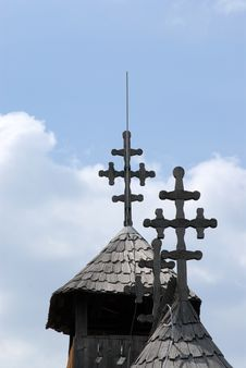 Crosses On The Church Roof Royalty Free Stock Photo