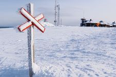 Free Caution Mark In Snowland Stock Photography - 5247792